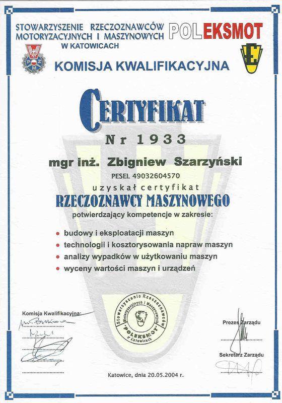 Certyfikat rzeczoznawcy maszynowego-Zbigniew Szarzynski