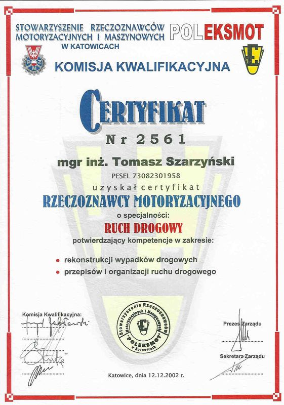 Certyfikat rzeczoznawcy motoryzacyjnego-ruch drogowy-Tomasz Szarzynski
