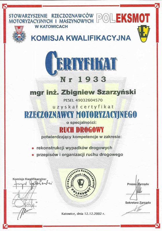 Certyfikat rzeczoznawcy motoryzacyjnego-ruch drogowy-Zbigniew Szarzynski