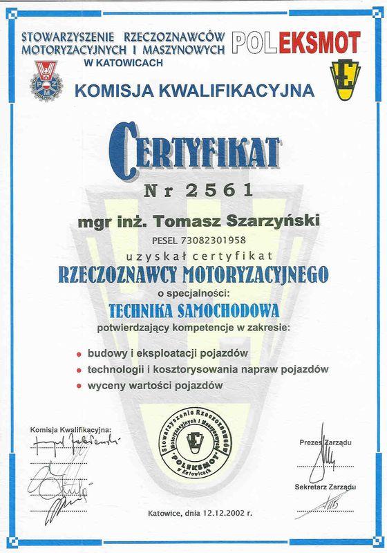 Certyfikat rzeczoznawcy motoryzacyjnego-technika samochodowa