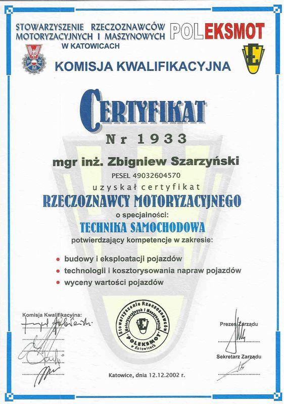 Certyfikat rzeczoznawcy motoryzacyjnego-technika samochodowa-Zbigniew Szarzynski