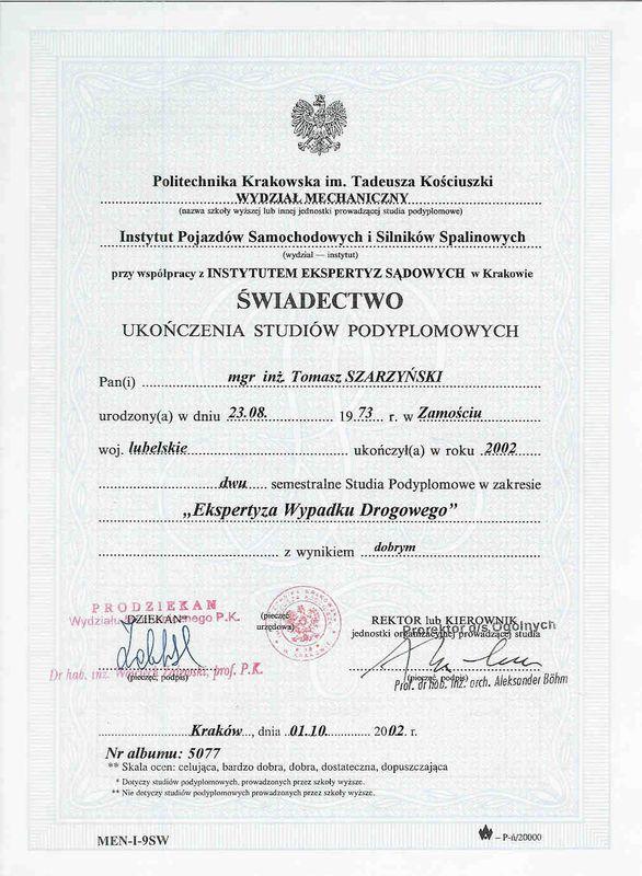 Swiadectwo-studia podyplomowe-Ekspertyza Wypadku Drogowego-Tomasz Szarzynski