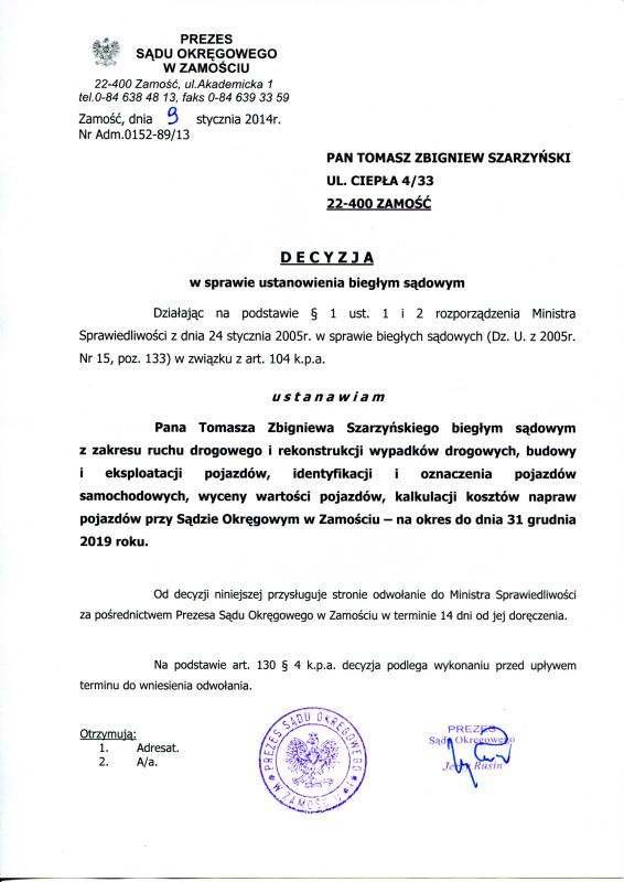 Biegly sadowy Sadu Okregowego w Zamosciu-Tomasz Szarzynski