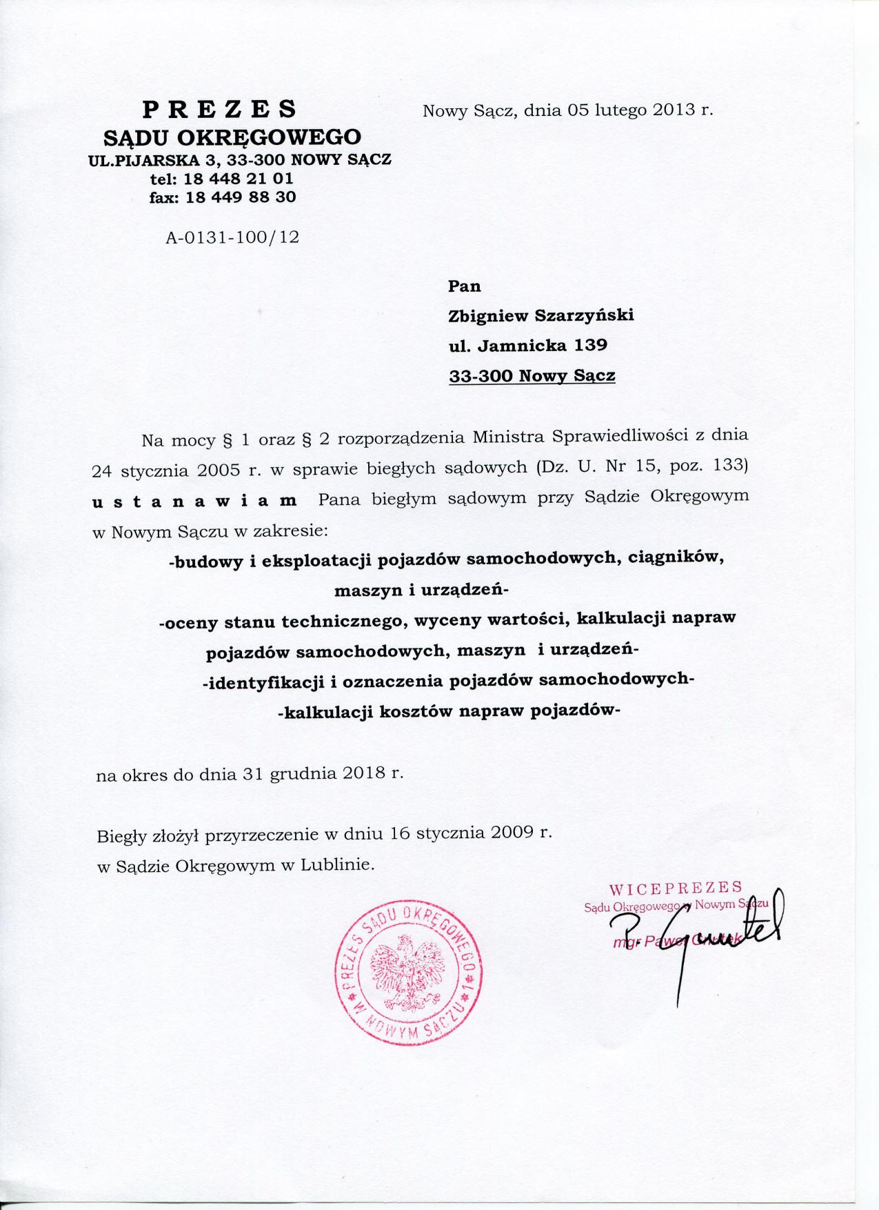 Rzeczoznawca Inspekcji Handlowej-Zbigniew Szarzynski