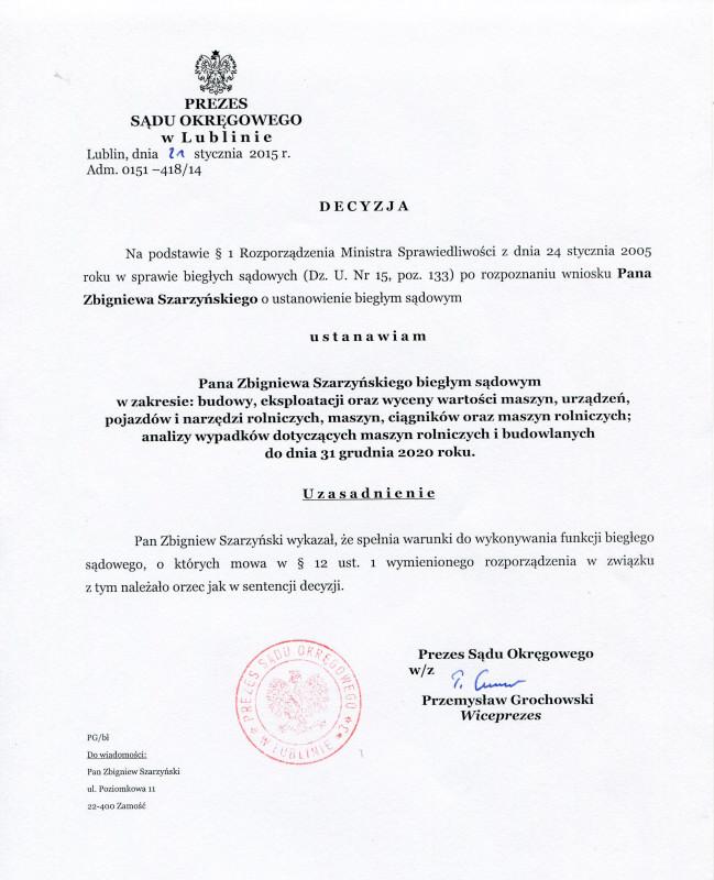 Biegly sadowy Sadu Okregowego w Lublinie-Zbigniew Szarzynski