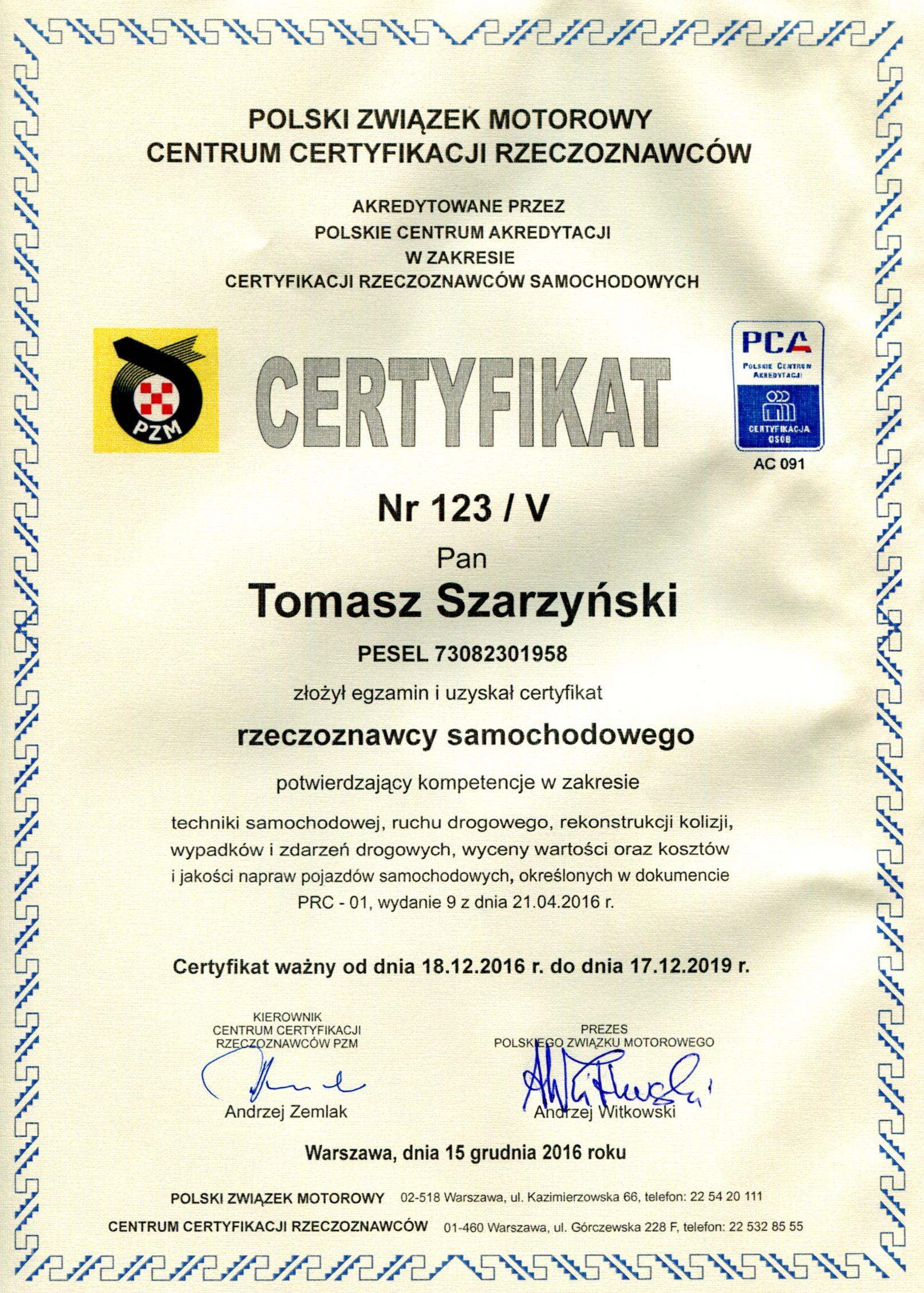 Certyfikat PCA-rzeczoznawca samochodowy