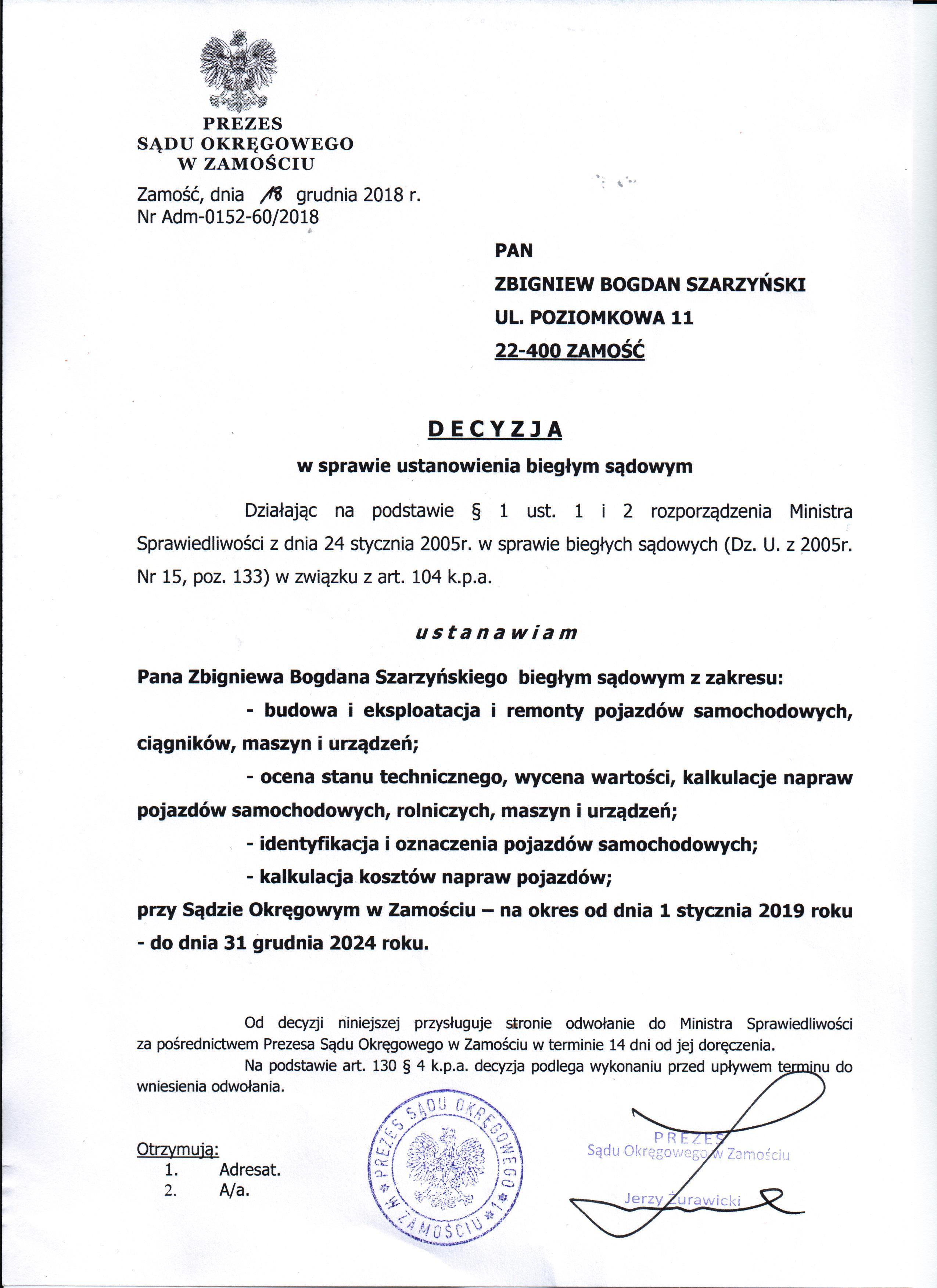 Biegly sadowy Sadu Okregowego w Zamosciu-Zbigniew Szarzynski